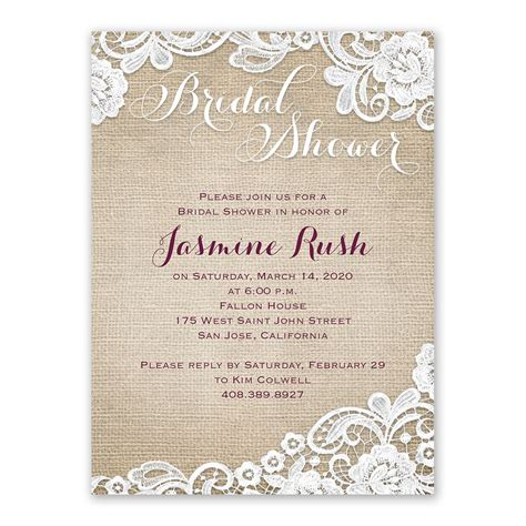 bridal shower invitations images burlap and lace bridal shower invitation s bridal bargains