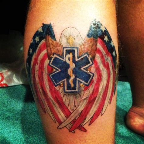 emt tattoo ems right side calf intriguing tattoos