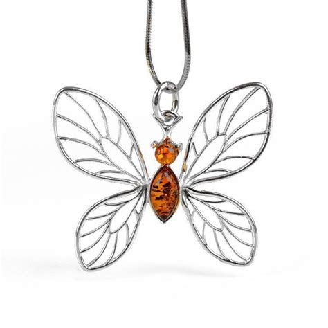 silver butterfly with pendant