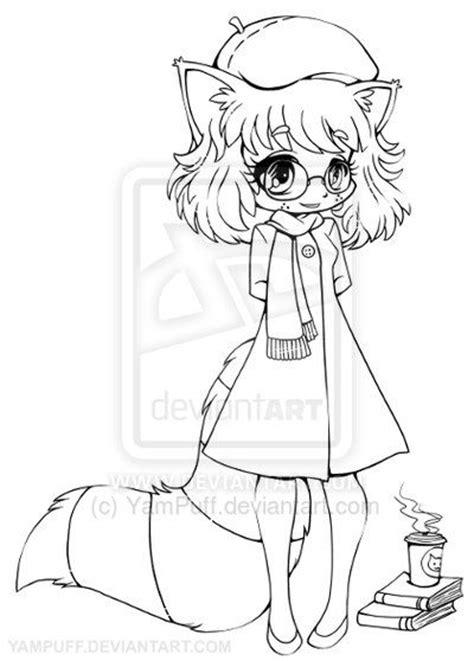 anime raccoon girl raccoon girl chibi lineart  yampuff