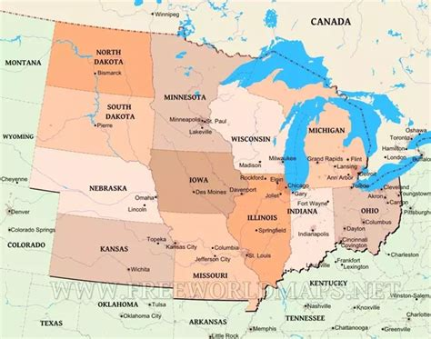 us map midwestern states which states border iowa quora
