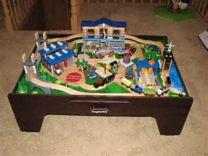 table trains and track on