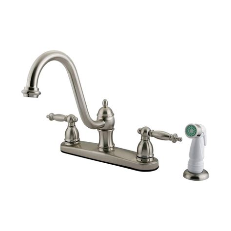 satin nickel kitchen faucets shop elements of design templeton satin nickel 2 handle deck mount high arc kitchen faucet at