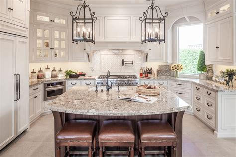 Granite Kitchen Islands With Breakfast Bar cafe creme granite kitchen traditional with pot filler