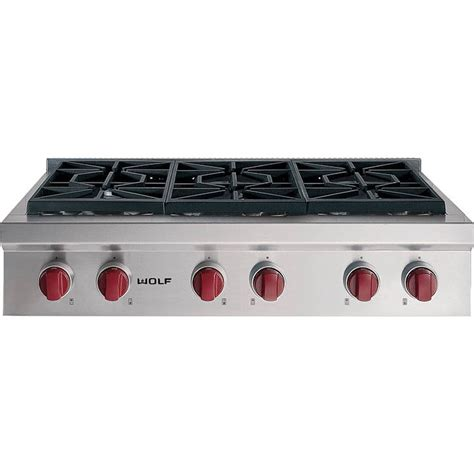 Thermador Cooktops Gas Wolf Srt366 Lp 36 Quot Gas With 6 Sealed Burners Liquid Propane