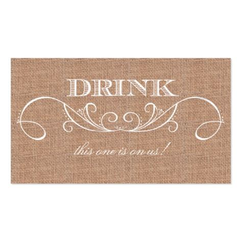 rustic burlap print wedding drink ticket business card