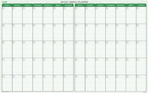60 Day Calendar Template by 60 Day Calendar Calendar Template 2016