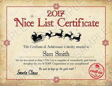search results for santa nice list certificate 2014