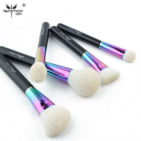 Mascara Silky anmor high quality 5 pieces soft makeup brush set goat hair make up brushes colorful cosmetics