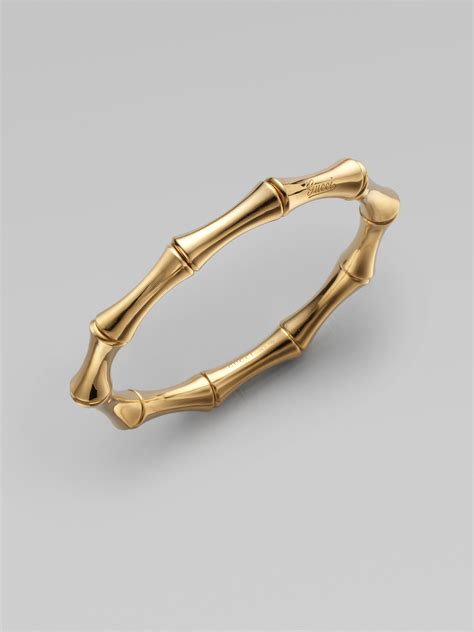 Gucci 18K Yellow Gold Small Bamboo Bangle Bracelet in Gold   Lyst