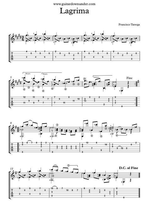 How To Pick Sheets quot lagrima quot by francisco tarrega free classical guitar