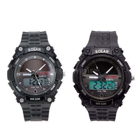 s solar powered watches dual time waterproof