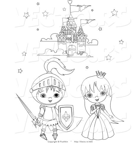 coloring pages knights and princesses fairy tale clipart knight castle pencil and in color