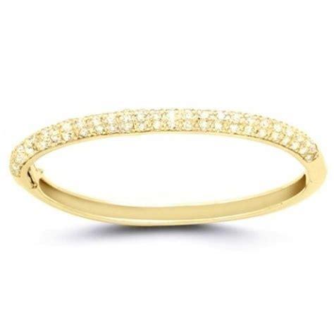 classic gold plated pave cz bangle bracelet