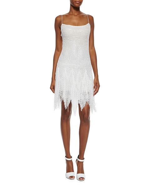 fringe beaded dress naeem khan beaded fringe skirt dress in lyst