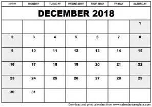 Blank Calendar Template 2018 December 2018 Calendar Template