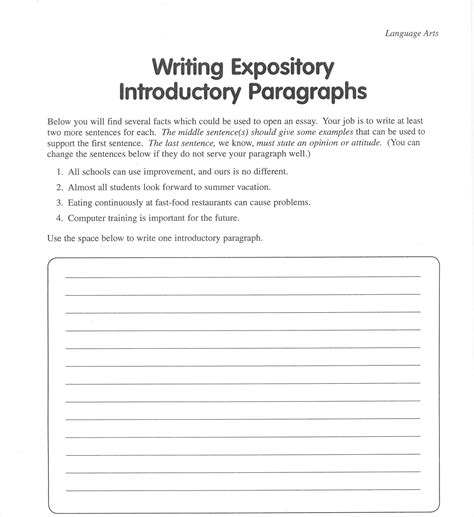 Introductory Paragraph Essay by Introduction Paragraph Worksheet Free Worksheets Library And Print Worksheets Free