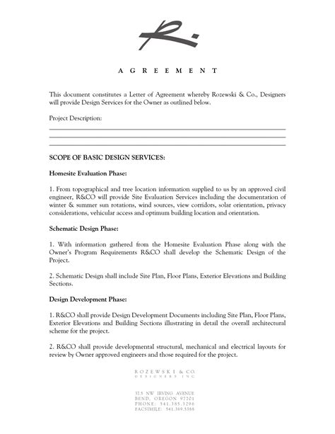Sle Of Letter Of Agreement For Interior Design 19 Design Agreement Template Images Interior Design