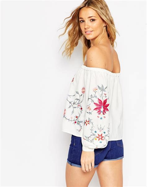 Shoulder Embroidery Top asos shoulder top with floral embroidery in lyst
