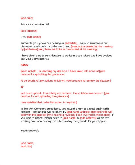 sle of formal appeal letter grievance appeal letter template 28 images grievance