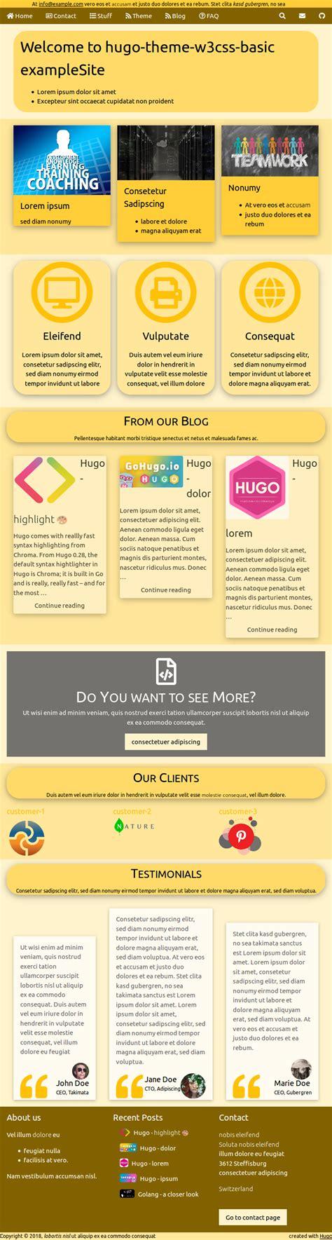themes in hugo hugo theme w3css basic hugo themes