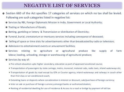 service tax sections list basic provisons of service tax regime ppt