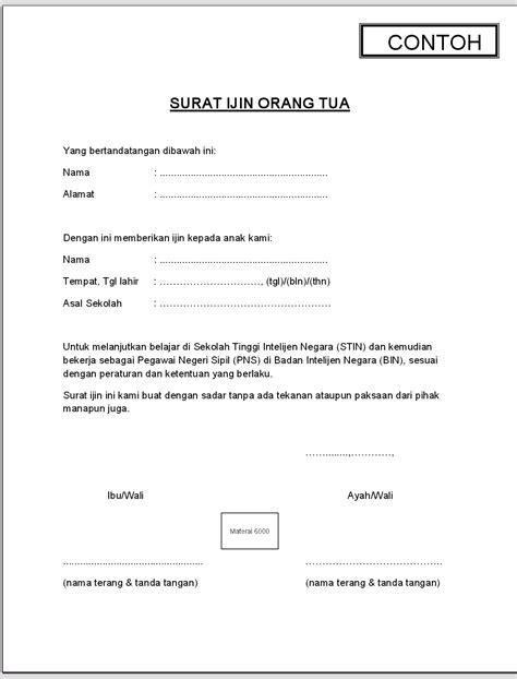 Surat Izin Pns Tidak Masuk Dinas by Surat Ijin Orang Tua Kuliahgratisid