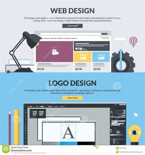html design concepts set of flat design style banners for graphic and web
