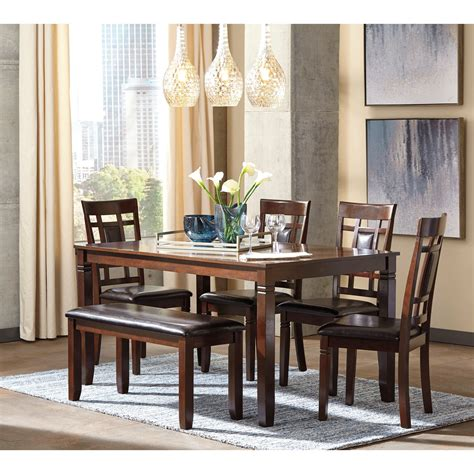 ashley dining room table contemporary 6 piece dining room table set with bench by