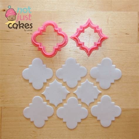 Patchwork Fondant Cutters - quatrefoil pattern cutter set 2pc 1st cutter cuts 1 5