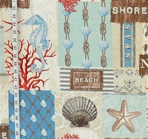 beach cottage fabric ocean fish seashell seahorse beach