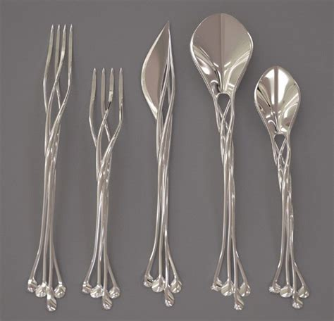 beautiful flatware i d eat with it beautiful elven looking silverware set geekologie
