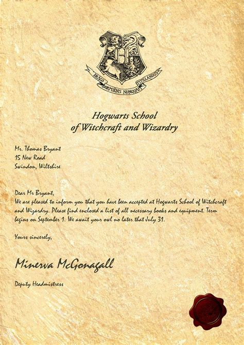hogwarts acceptance letter by legiondesign harry potter