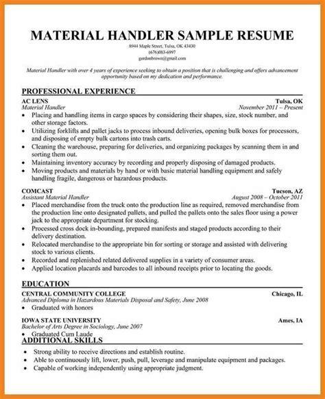 Handling Resume by Resume For Material Handler Best Resume Collection