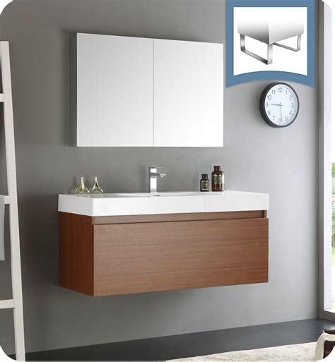 Wall Hung Bathroom Vanities Cabinets Fresca Fvn8011tk Mezzo 48 Quot Teak Wall Hung Modern Bathroom Vanity With Medicine Cabinet