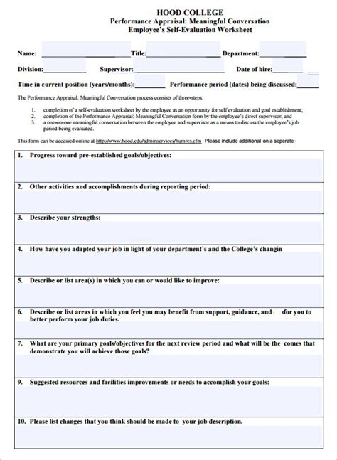 self evaluation template employee evaluation template sle templates template
