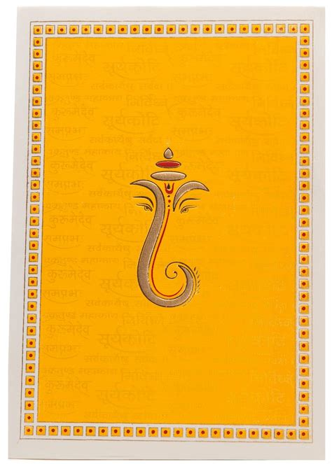 wedding card hindu hindu wedding card in yellow with ganesha sanskrit