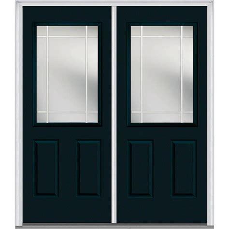 Fiberglass Exterior Doors With Glass Milliken Millwork 66 In X 81 75 In Classic Clear Glass Pim 1 2 Lite Painted Fiberglass Smooth