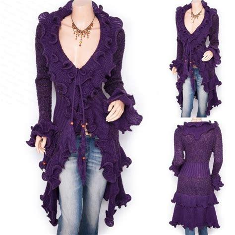Cardigan Sweater Wanita Purple Knitted 328017 retro ruffles collared knit cardigan sweater jacket ruffle collar sweaters