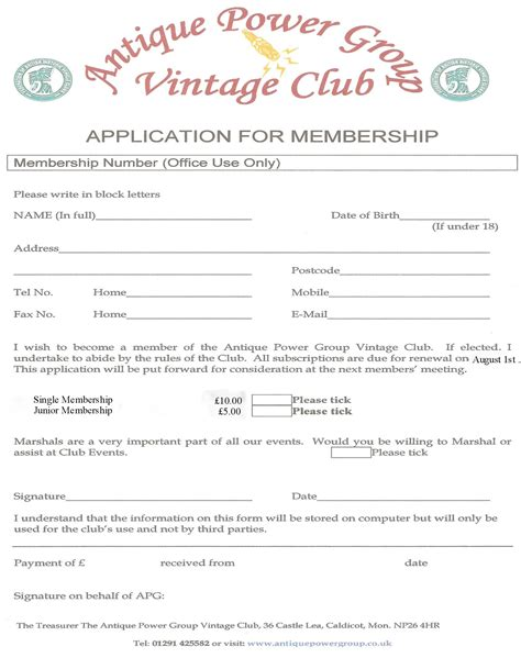 social club membership application form template membership form template pictures to pin on