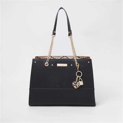 Chain Tote Bags Black black charm structured chain tote bag shopper tote