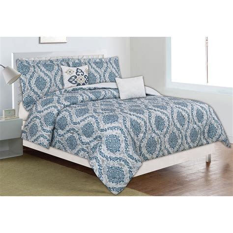 Home Trends Bedding Sets Home Dynamix Classic Trends Blue Gray 5 Comforter Set F G Ctnf 340 The Home Depot