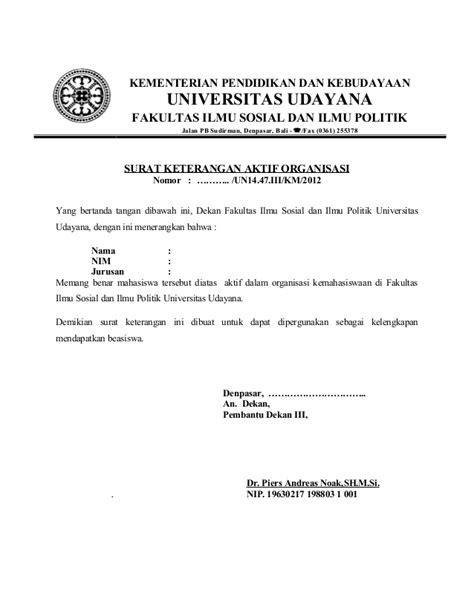 Contoh Surat Lamaran Kerja Kementerian Pendidikan Dan Kebudayaan by Contoh Surat Pernyataan Organisasi Contoh Three