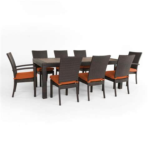 Shop Rst Brands Deco 9 Espresso Composite Material Rst Brands Deco 9 Patio Dining Set With Tika Orange