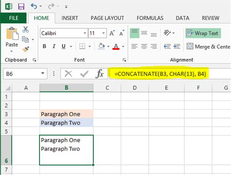 how to create a paragraph within one cell in ms excel