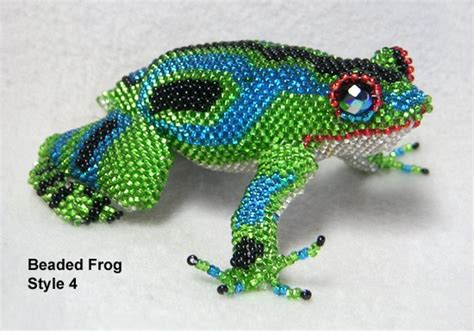 frog beaded from guatemala 4 inches green and