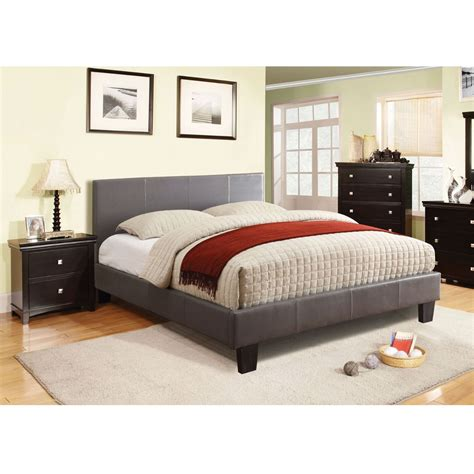 full size upholstered bed full size platform bed with headboard upholstered in gray