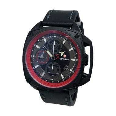 Tali Jam Kulit Pria Wanita Expedition 24 Mm jual expedition chronograph tali kulit jam tangan pria 140450 hitam merah harga