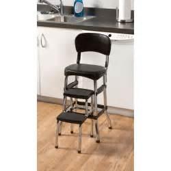 cosco retro kitchen stool black with folding step ebay