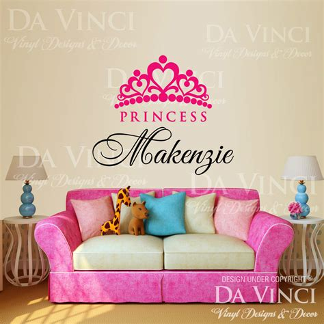 personalized name wall stickers personalized custom name crown princess vinyl wall decal sticker decoration ebay